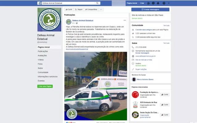 Defesa animal diz que caso está sendo investigado  — Foto: Reprodução/Facebook
