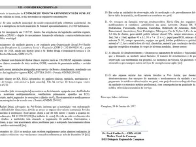 Relatório do Cremesp aponta problemas na UPA Macarenko (Foto: Reprodução)