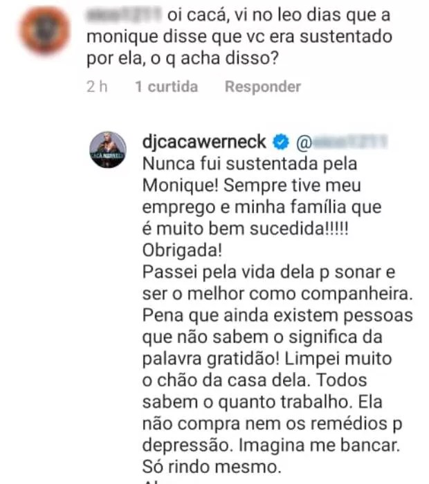 Cacá Werneck responde a comentários de seguidores sobre fim de namoro com Monique Evans (Foto: Reprodução/Instagram)
