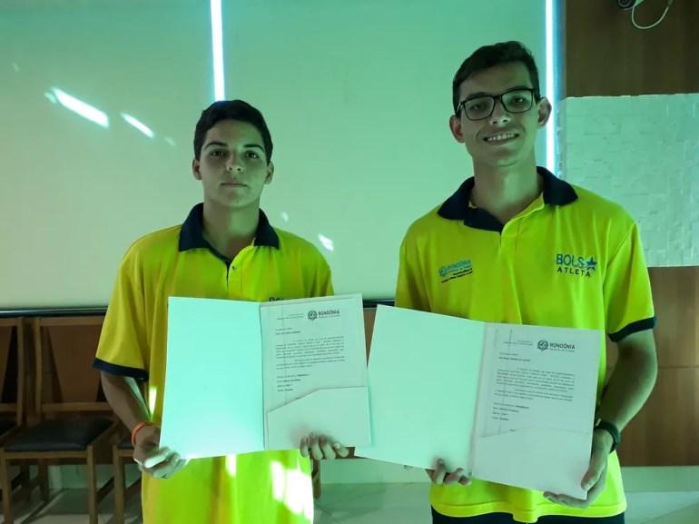 Atletas do vôlei de Vilhena (Foto: Pedro Bentes/ G1)