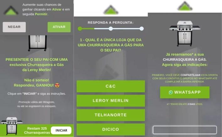 Leroy Merlin está sorteando churrasqueira? Golpe usa marca para roubar dados de usuários do WhatsApp — Foto: Reprodução/dfndr lab