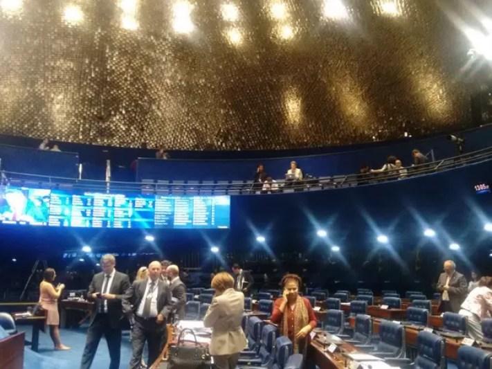 Plenário do Senado durante o julgamento do processo de impeachment da presidente afastada Dilma Rousseff (Foto: Laís Lis / G1)