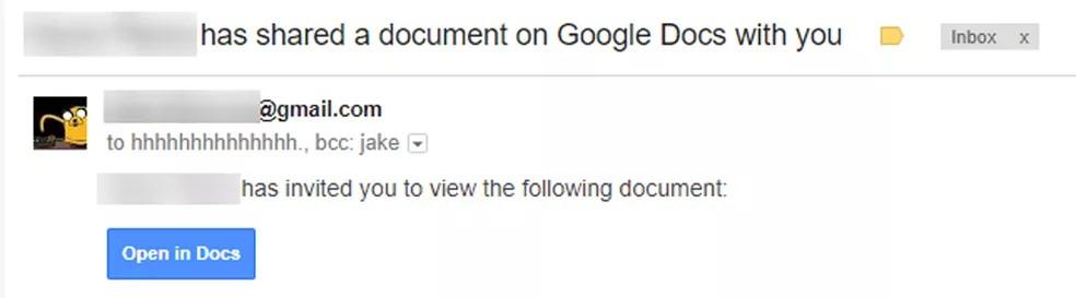 E-mail falso foi enviado para contatos do Gmail com convite para editar documentos no Google Docs (Foto: Reddit/JakeSteam)