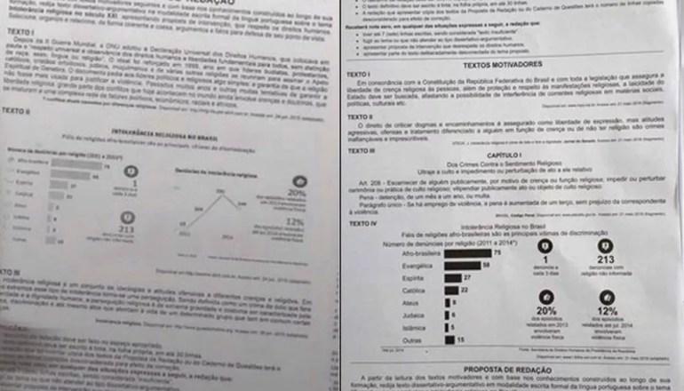 À esquerda, foto da prova falsa que circulou nas redes sociais em 2015. À direita, página com tema da redação do Enem 2016. (Foto: Reprodução )