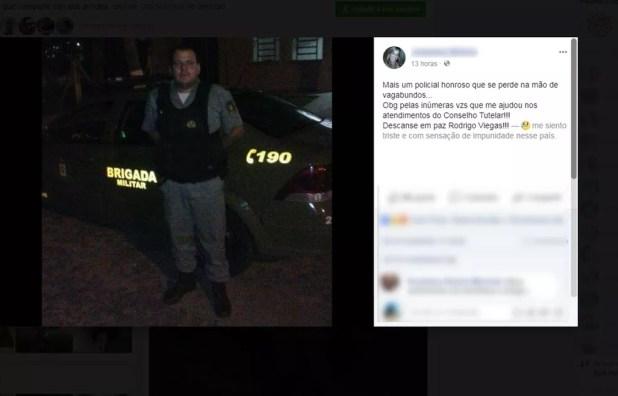 Amigos lamentaram a morte do soldado nas redes sociais. (Foto: Repodução/Facebook)
