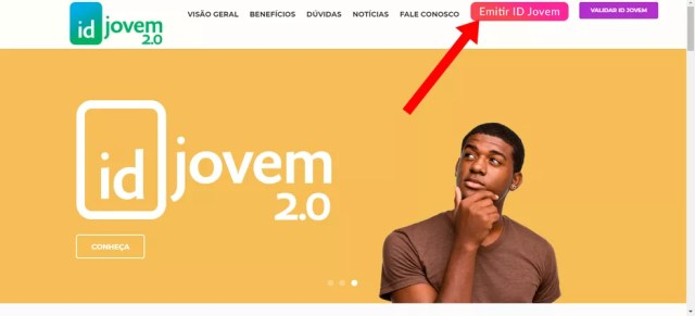 """Clique em """"Emitir ID Jovem"""" na página inicial — Foto: Reprodução/Isys Bastos"""