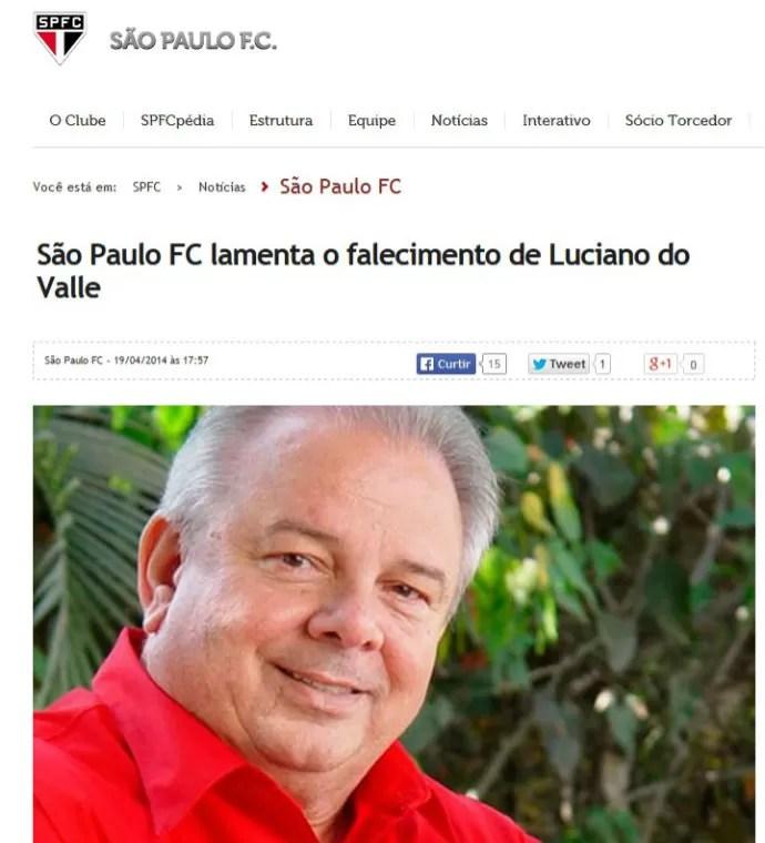 São Paulo lamenta morte de Luciano do Valle (Foto: reprodução)