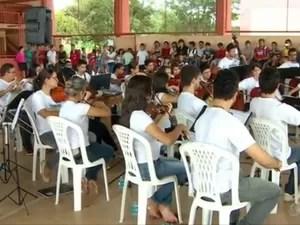 Escola é a primeira a receber aulas da Orquestra Essência (Foto: Reprodução/TV Amapá)