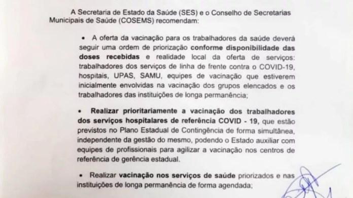 Nota técnica elencando as propriedades de vacinação na Paraíba foi divulgada nesta quarta-feira pela SES — Foto: SES-PB/Reprodução