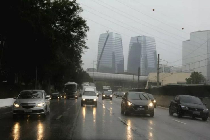 Zona Sul de SP com chuva (Foto: Marcelo Brandt/G1)