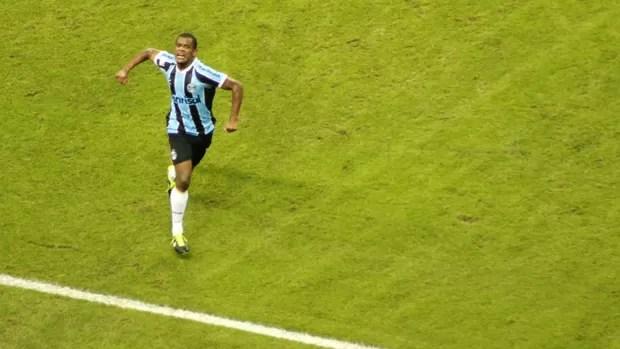 gol grêmio santa fé arena libertadores fernando (Foto: Diego Guichard/Globoesporte.com)