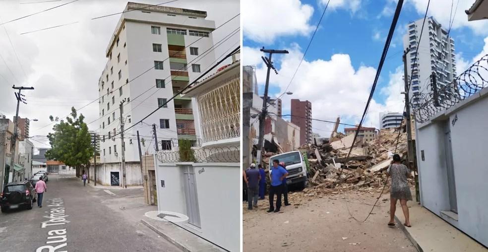 Antes e depois do prédio de 7 andares desabado em Fortaleza — Foto: Cinthia Freitas/G1 Ceará; Reprodução/Google Street View