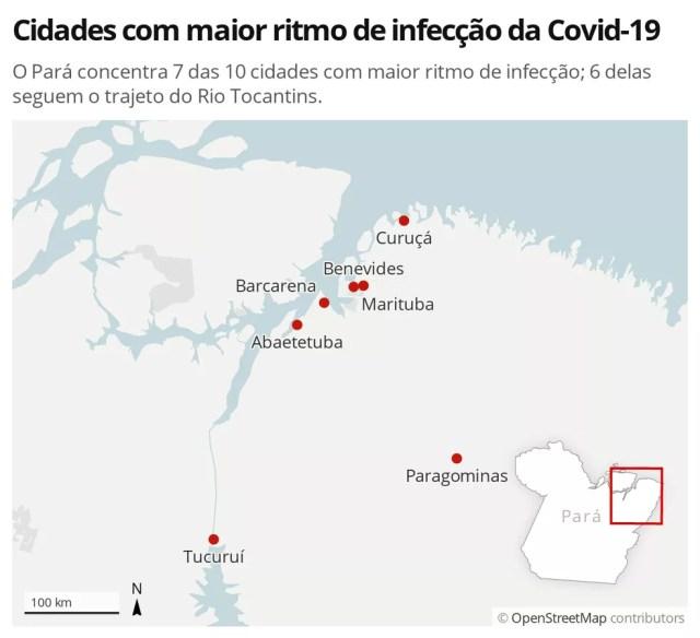 Cidades com maior ritmo de infecção da Covid-19 — Foto: G1