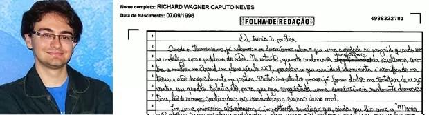 Trecho da redação do estudante Richard Wagner Caputo Neves (Foto: Arquivo pessoal/ Reprodução)