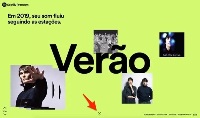 Página inicial da retrospectiva 2019 do Spotify — Foto: Reprodução/Marvin Costa