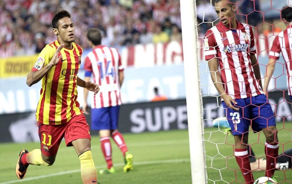 Neymar celebra seu primeiro gol oficial com a camisa do Barça (Agência EFE)