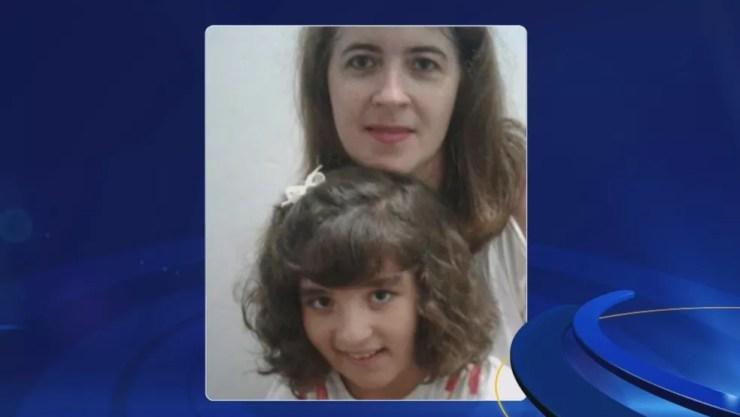 Mãe Luciana, com a filha Manoela, que morreu no incêncio (Foto: Reprodução/TV TEM)