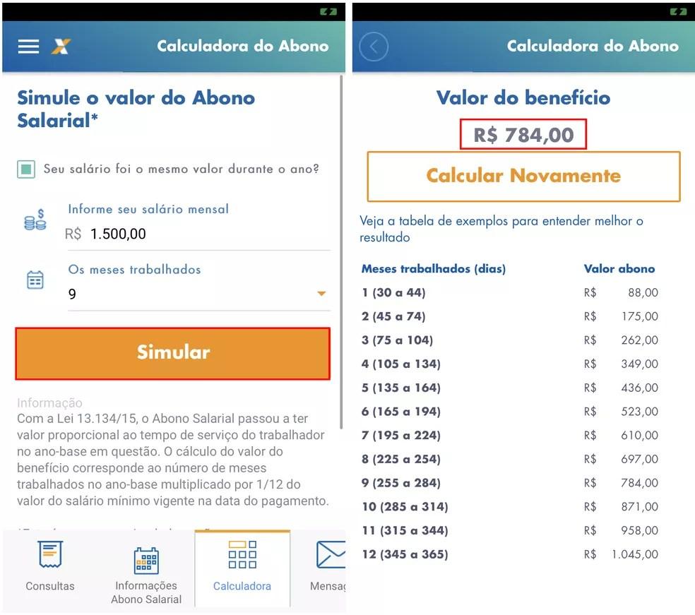 Caixa Trabalhador tem calculadora que faz simulação do valor do Abono Salarial — Foto: Reprodução/Rodrigo Fernandes