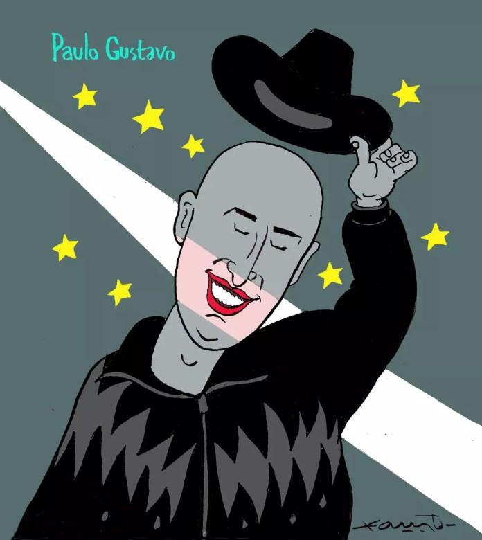 Fausto Bergocce faz homenagem a Paulo Gustavo — Foto: Fausto Bergocce/Associação dos Cartunistas do Brasil