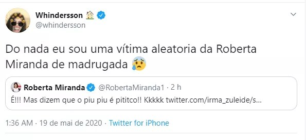 Whindersson responde tweet de Roberta Miranda (Foto: Reprodução/Twitter)