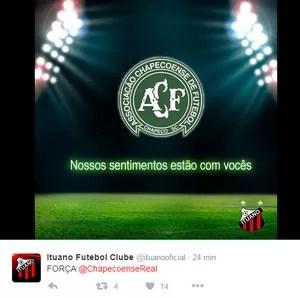 Ituano FC também lamentou nas redes sociais o acidente envolvendo avião do time catarinense (Foto: Reprodução/Twitter)