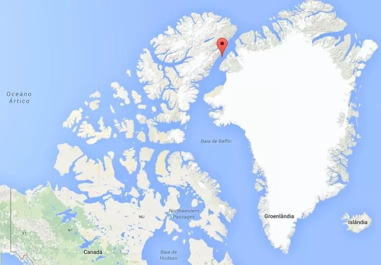 Localização da Ilha Hans no mapa-múndi (Foto: Reprodução | Google Maps)
