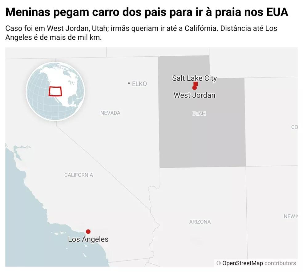 Meninas pegam carro dos pais para ir à praia nos EUA; infográfico mostra localização de West Jordan em Utah, local do caso. Irmãs queriam ir até a Califórnia; distância até Los Angeles é de mais de mil km. — Foto: G1