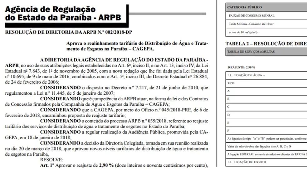 Reajuste foi publicado no Diário Oficial do Estado, nesta quarta-feira (21). (Foto: Reprodução/Diário Oficial do Estado)
