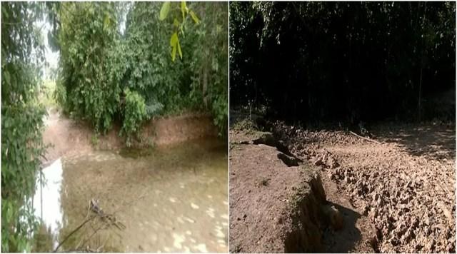 Nascente secou após desmatamento (Foto: Reprodução/TV Anhanguera)
