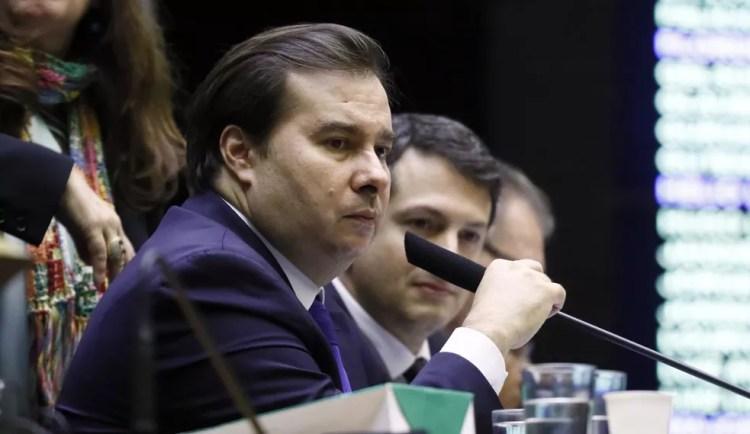 O deputado Rodrigo Maia (DEM-RJ), presidente da Câmara, durante sessão no planário — Foto: Luis Macedo/Câmara dos Deputados