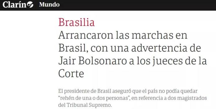 Reprodução da reportagem do'Clarín' sobre manifestações a favor de Jair Bolsonaro no Brasil — Foto: Reprodução/Clarín