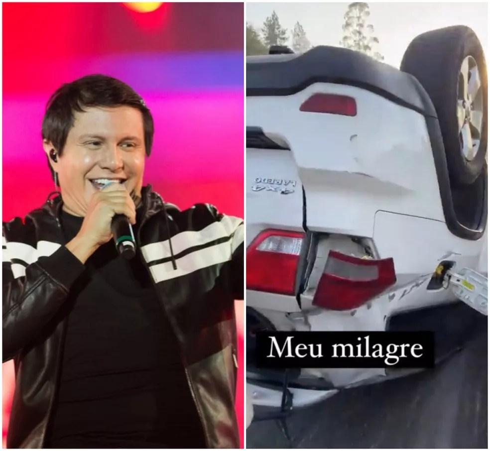 Nas redes sociais, esposa de Giovani postou imagens do acidente — Foto: Érico Andrade/G1 / Redes Sociais/Reprodução