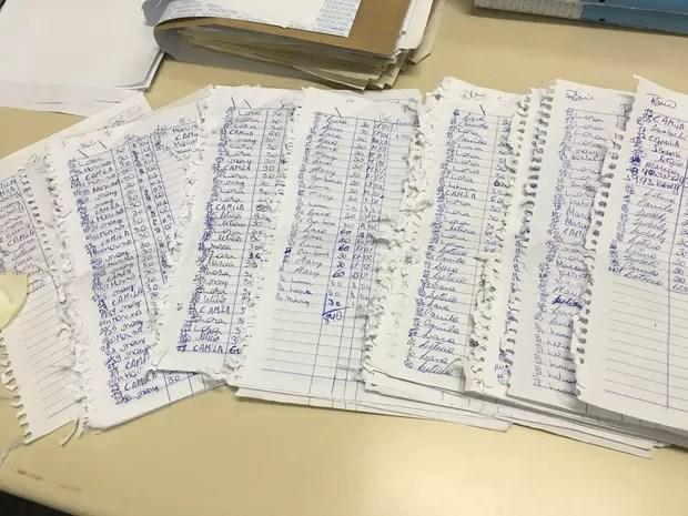 Garotas e proprietária registravam programas em caderno (Foto: Polícia Civil/Divulgação)