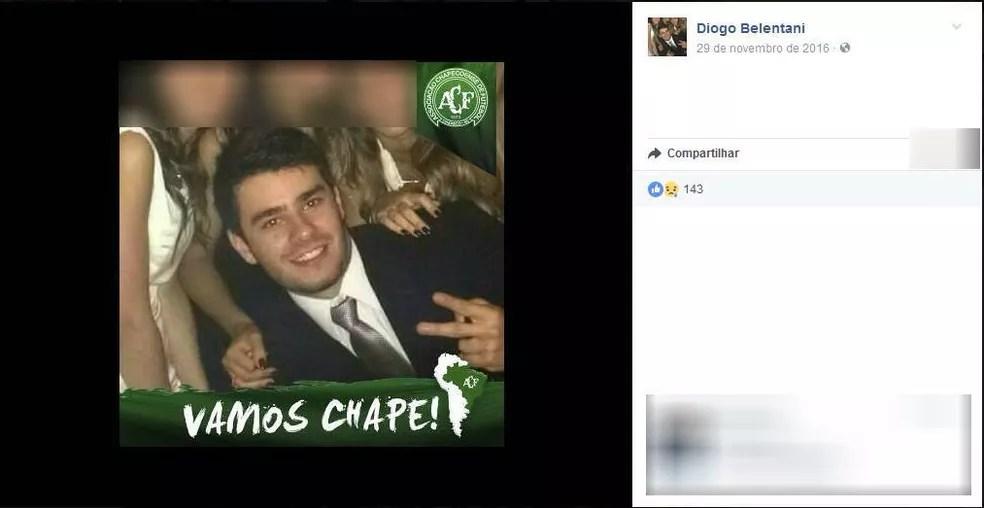 Diogo Belentani foi atingido no peito e morreu antes de chegar ao pronto-socorro em Araçatuba (Foto: Reprodução/Facebook)