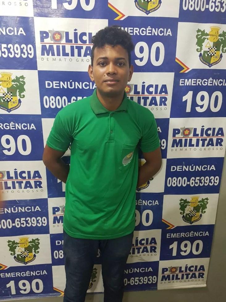 O marido dela, Marcelo Rodrigues dos Santos, de 22 anos, foi preso e negou o crime (Foto: Polícia Militar de MT)
