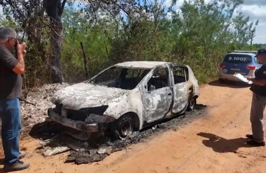 Carro de Ludmilla foi encontrado carbonizado em São Sebastião do Passé — Foto: Reprodução/TV Bahia