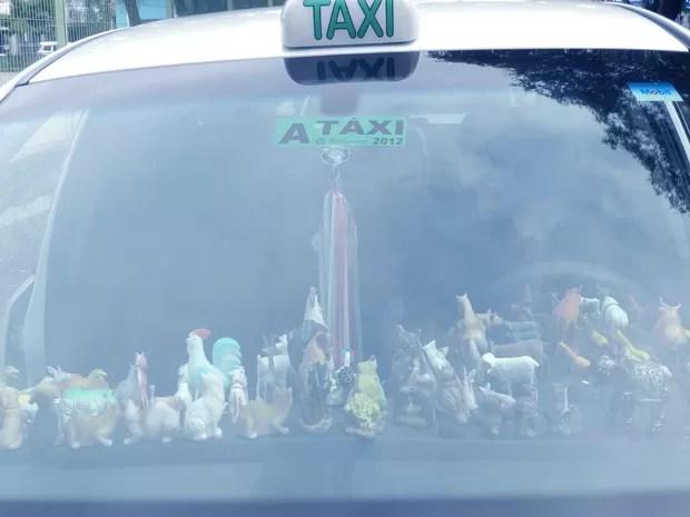 Taxista coleciona mais de 100 miniaturas em veículo (Foto: Débora Carvalho / G1)