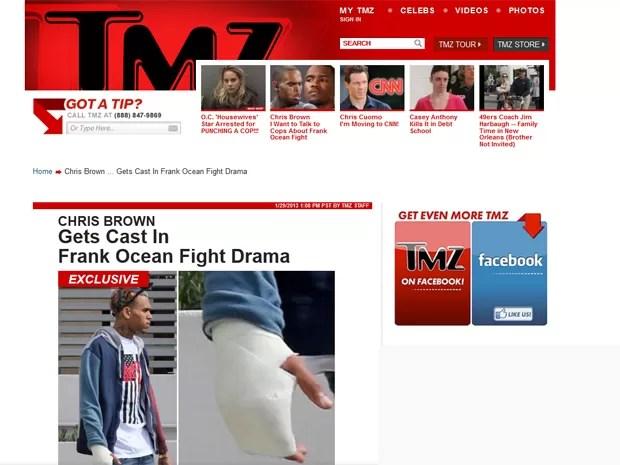 Matéria publicada nesta terça-feira (29), no site TMZ, mostra Chris Brown com a mão enfaixada após briga com Frank Ocean (Foto: Reprodução/ Site Tmz.com)