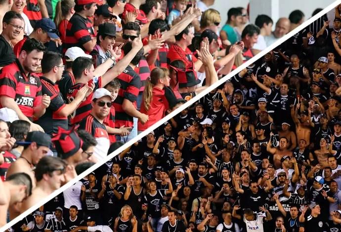 MONTAGEM - Torcidas flamengo e Corinthians (Foto: Agência Getty Images)