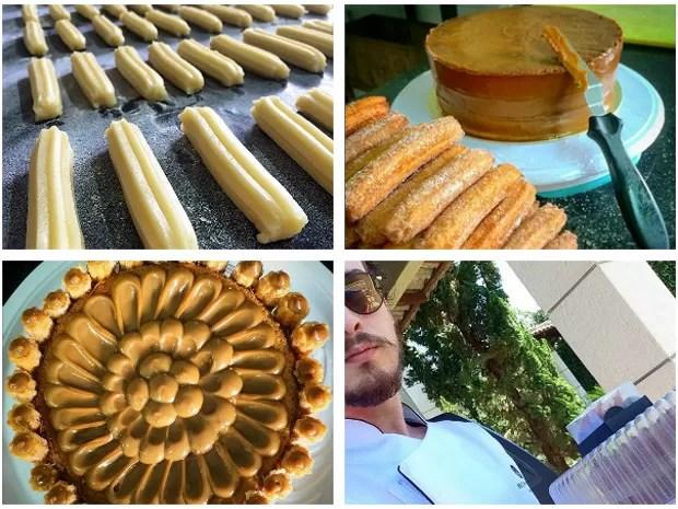 Na primeira foto, churros são preparados artesanalmente; na segunda, bolo termina de ser preparado para receber alimento; na terceira, bolo com um andar visto de cima; na quarta, chef segura encomenda (Foto: Bruno Veloso/Arquivo Pessoal)