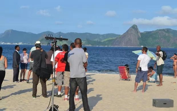 Anderson Silva e Pelé gravação de comercial (Foto: Ivan Raupp/ SPORTV.COM)