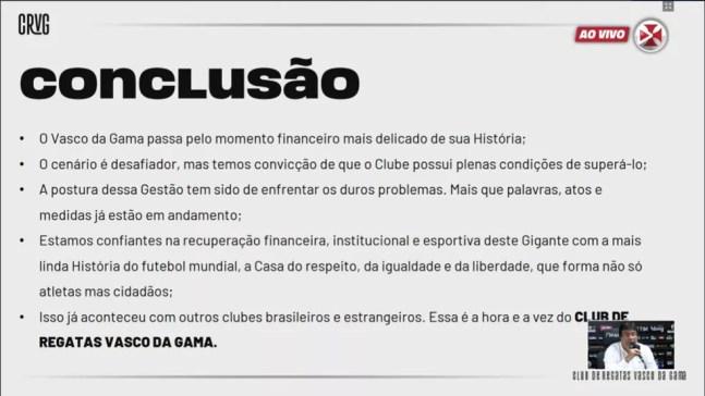Vasco apresenta balanço financeiro 2020 — Foto: Reprodução / VascoTV