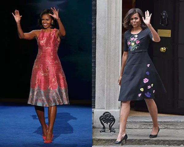 Michelle Obama de Tracy Reese e Christopher Kane (Foto: Getty Images)