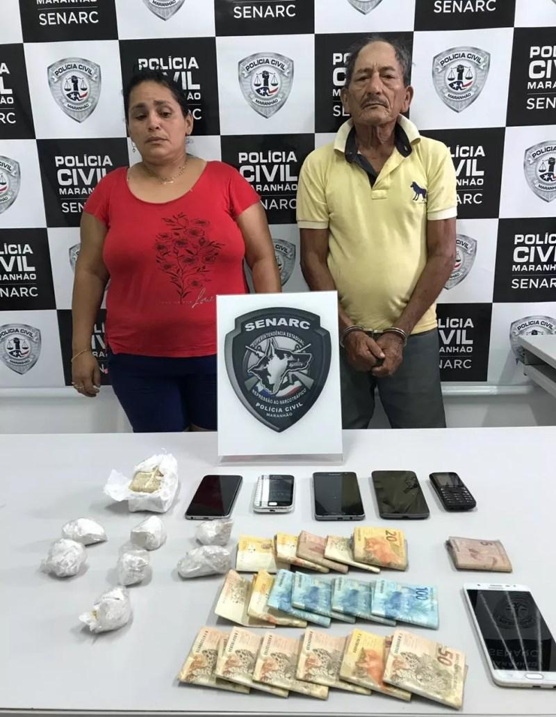 Fabiana Macedo Máximo e Raimundo Carlos Costa foram presos por tráfico de drogas em São Luís — Foto: Divulgação/Polícia Civil