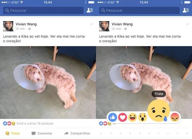 'Reações', botões do Facebook em forma de emoji alternativos ao 'curtir'. (Foto: Divulgação/Facebook)