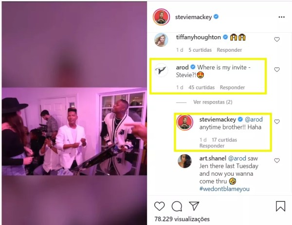 The interaction between Alex Rodriguez and Steve Mackey on Instagram (Photo: Reproduction / Instagram)