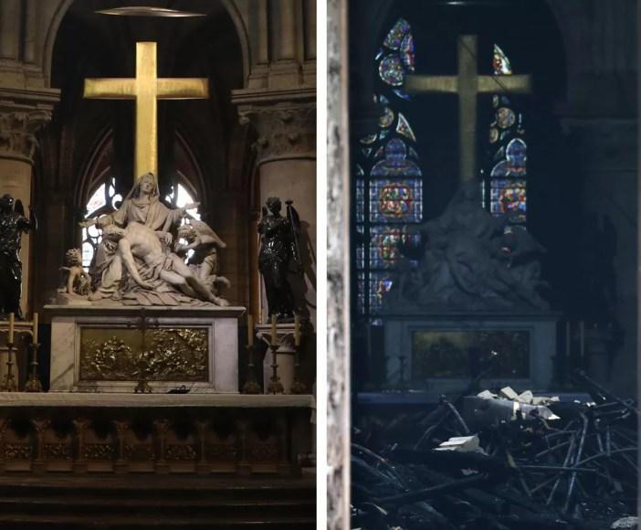 Combinação de fotos mostra o altar da catedral de Notre-Dame antes, em imagem de arquivo de junho de 2018, e depois do incêndio — Foto: Ludovic Marin/AFP/Arquivo; Ludovic Marin/AFP