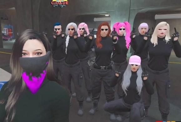 As Hells Angels são uma gangue de GTA 5 RP exclusivamente formada por mulheres — Foto: Reprodução / Twitter