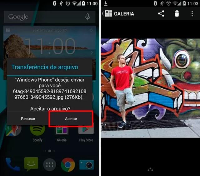 Transferindo arquivos via Bluetooth (Foto: Reprodução/Elson de Souza)