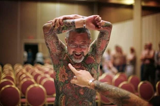 Japonês Yoshi arrancou risos de juízes ao exibir pênis tatuados nos braços. (Foto: Jason Reed/Reuters)